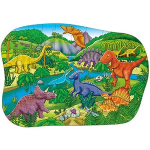 This beautifully illustrated jigsaw depicts a wide array of dinosaurs, from a triceratops to a t-rex, in a lush, prehistoric setting.