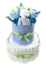 Load image into Gallery viewer, Say It Baby - Baby Boy Nappy Cake Bouquet - 2 Tier - Say It Baby