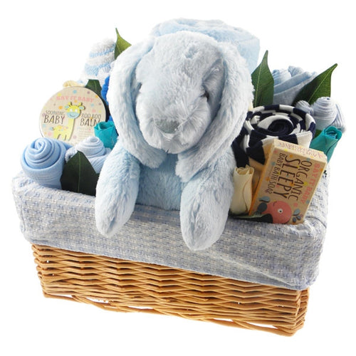 Deluxe Baby Boy Gift Flower Basket - Say It Baby
