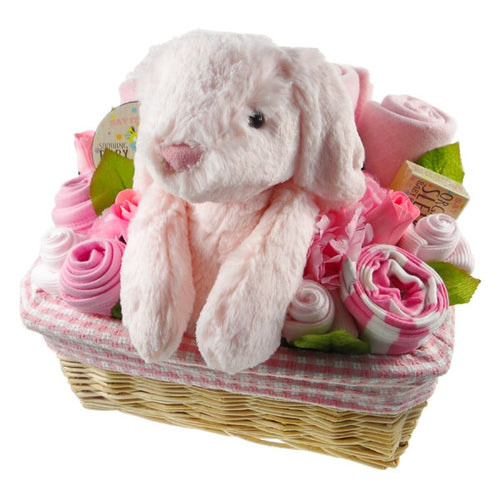 Deluxe Baby Girl Gift Flower Basket - Say It Baby