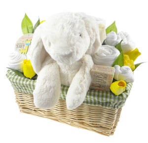 Deluxe Unisex Baby Gift Flower Basket - Say It Baby