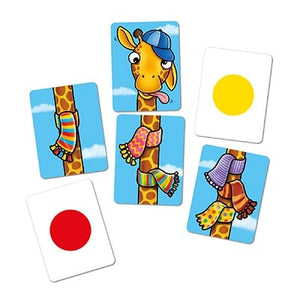 Orchard Toys Giraffes in Scarves Game. Designed for ages 4-7, Giraffes in Scarves offers the perfect balance between learning and fun! It can also be played by up to 6 players.