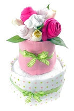 Load image into Gallery viewer, Say It Baby - Baby Girl Nappy Cake Bouquet - 2 Tier