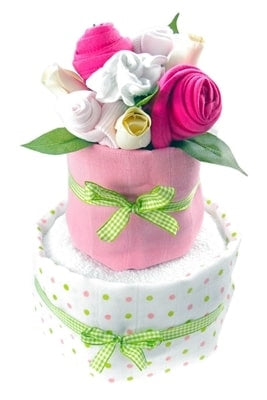 Say It Baby - Baby Girl Nappy Cake Bouquet - 2 Tier