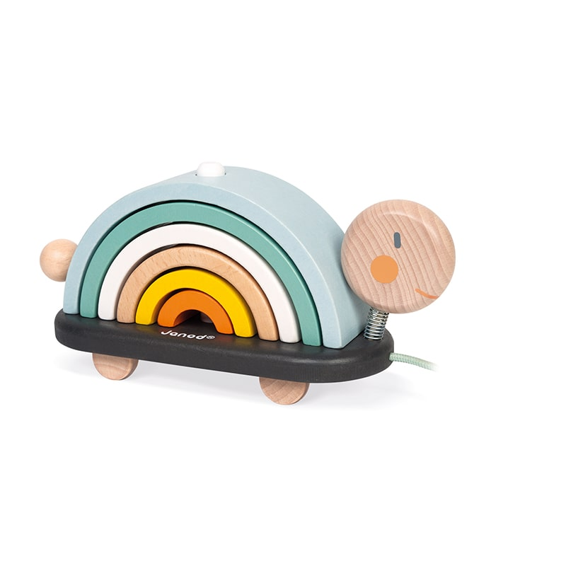 Janod Sweet Cocoon Rainbow Turtle Pull Along and Construction Toy