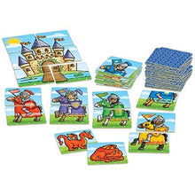 Load image into Gallery viewer, Knights and Dragons kids game - Players take turns to match as many noble knights as possible before the castle image is complete, but watch out for the dragon cards - an awake dragon will scare away a knight but a sleeping dragon could win back all the lost knights!