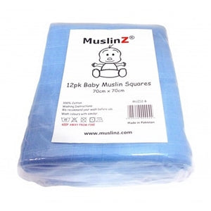 Muslinz - Blue Premium Baby Muslin Squares (Pack of 12) - Say It Baby
