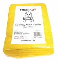 Load image into Gallery viewer, Muslinz - Yellow Premium Baby Muslin Squares (Pack of 12) - Say It Baby