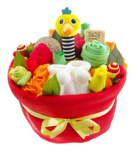 Bright Baby Nappy Cake Bouquet Arrangement - Say It Baby