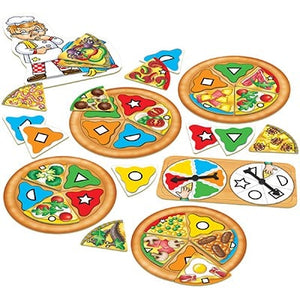 Match colours and shapes to make the perfect pizza in this fun kids' game by Orchard Toys.