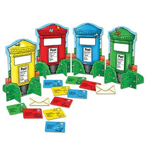 Orchard Toys Post Box Game - In the more advanced game, players pick a post box and must be the first to post all the letters which match this colour to win the game!
