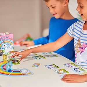 Rainbow Unicorn Game for kids Featuring friendly unicorn characters and a rainbow playing board that children will love.