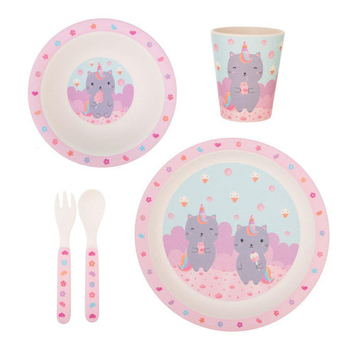 Sass & Belle Luna Caticorn Bamboo Tableware Set - Say It Baby