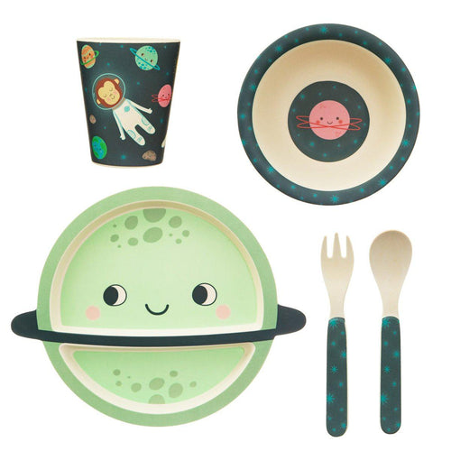 Sass & Belle Space Explorer Bamboo Tableware Set - Say It Baby
