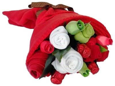 Say It Baby - Traditional Reds Mum & Baby Clothes Bouquet