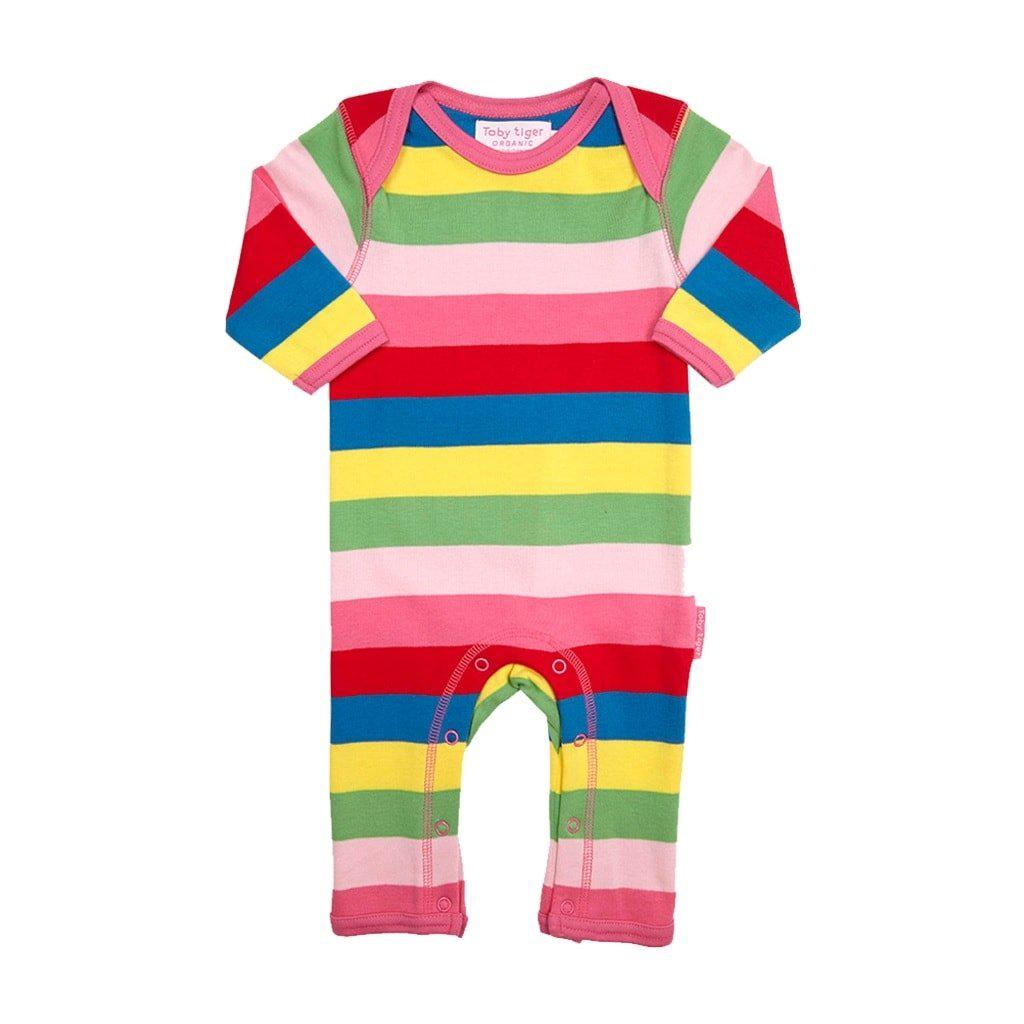 Toby Tiger Organic Girly Stripe Romper
