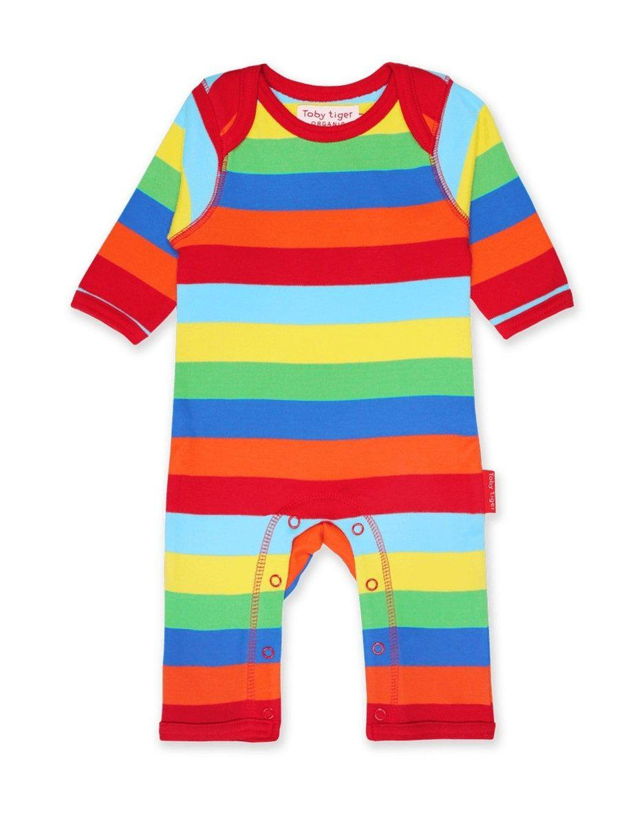 Toby Tiger Organic Multi Stripe Sleepsuit - Say It Baby