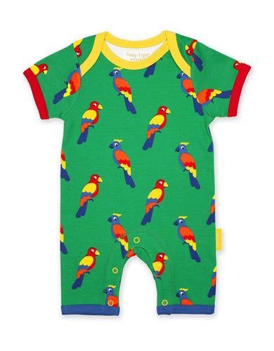 Toby Tiger Organic Parrot Romper - Say It Baby