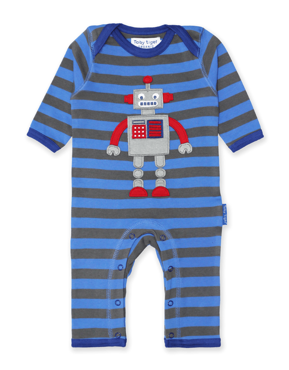 Toby Tiger Organic Robot Sleepsuit - Say It Baby