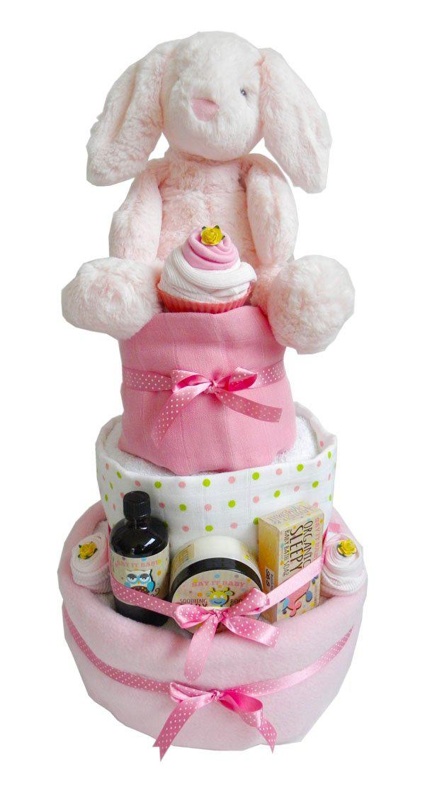 Large 3 Tier Baby Girl Nappy Cake