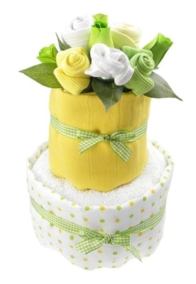 Say It Baby - Unisex Baby Nappy Cake Bouquet - 2 Tier - Say It Baby
