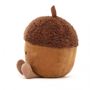 Amuseable Acorn is the cutest little woodland dude! With nutty brown fur, fuzzy beret and cordy stalk and feet, Acorn has a great big smile and is all set for Autumn.