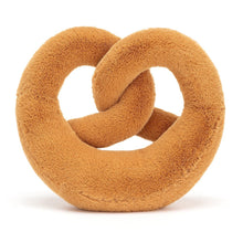 Load image into Gallery viewer, Soft toy pretzel -  This knotty but nice Pretzel is golden brown with cocoa cord boots and stitchy salt speckles. Pretzel makes the best breakfast buddy!