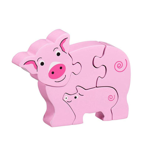 Lanka Kade 5 Piece Pig and Baby Jigsaw Fairtrade Wooden Toy Say It Baby Gifts