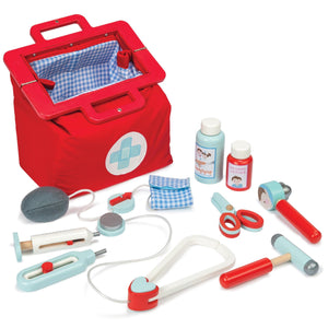 Wooden Toy Doctor Medical Kit by Le Toy Van -The award-winning toy set includes a toy stethoscope, thermometer, syringe, blood pressure gauge, ear scope, reflex hammer, scissors and two medicine bottles.