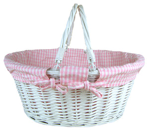Large Pink Gingham Baby Girl Basket - Say It Baby