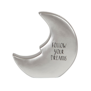 This lovely moon first money box from Sass & Belle is a beautiful gift for a new baby's room. Follow Your Dreams Inscription on back
