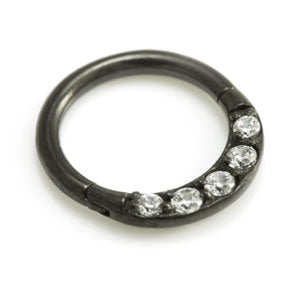 Evil Black Pave Jewelled Hinged Daith Ring