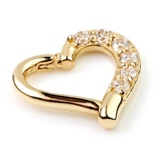 14ct Gold Gem Hinge Daith Heart Ring 7mm