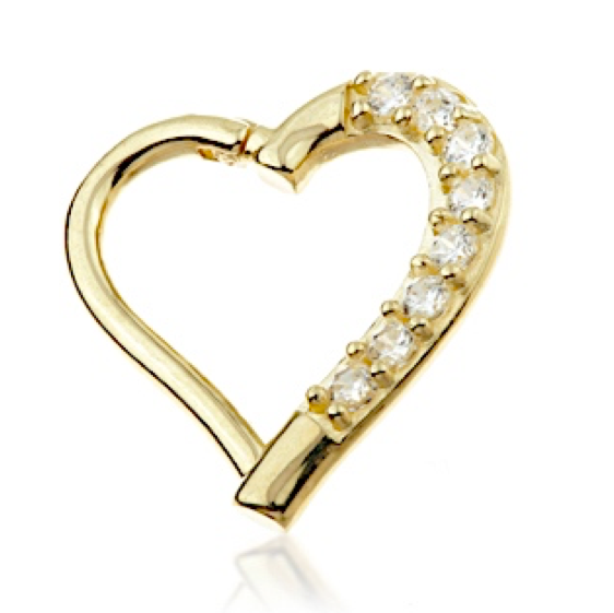 14ct Gold Gem Hinge Daith Heart Ring 9mm