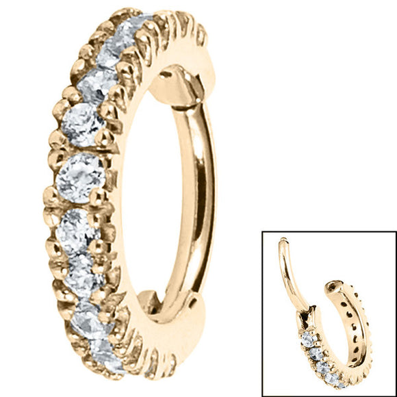 Chunky Pavé Set Jewelled Edge Hinge Ring in Zircon Gold