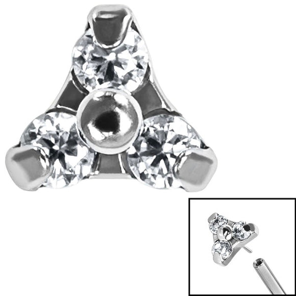Titanium Claw Set Trinity Gem Labret PRESS FIT