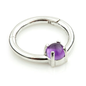 14ct White Gold Amethyst Claw Set Hinge Ring