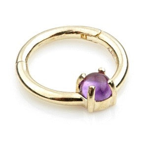 14ct Gold Amethyst Claw Set Hinge Ring