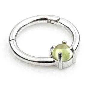 14ct White Gold Peridot Claw Set Hinge Ring