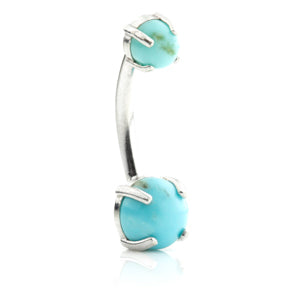14ct White Gold Turquoise Oval Navel Bar