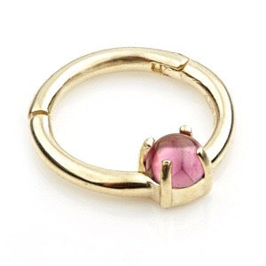 14ct Gold Rhodolite Claw Set Hinge Ring