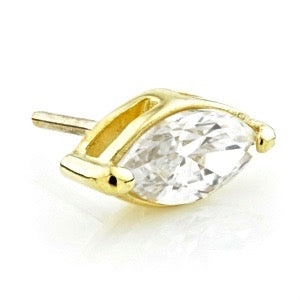 18ct Yellow Gold Marquese Gem Attachment with Titanium Hollow Post PRESS FIT RANGE