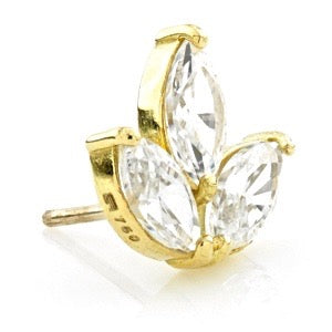 18ct Yellow Gold Marquese Flower Gem  with Titanium Hollow Post PRESS FIT RANGE