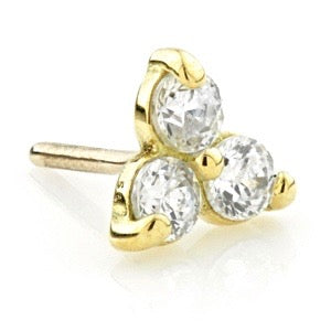 18ct Yellow Gold Trinity Gem With Titanium Hollow Post PRESS FIT RANGE