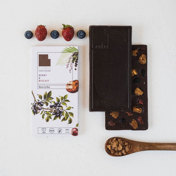 Toska Berry & Biscuit Dark Chocolate Bar