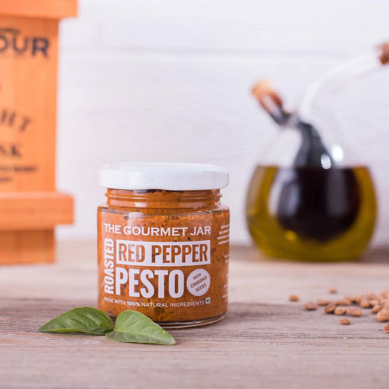 Gourmet Jar Roasted Red Pepper Pesto (with Chironji seeds)