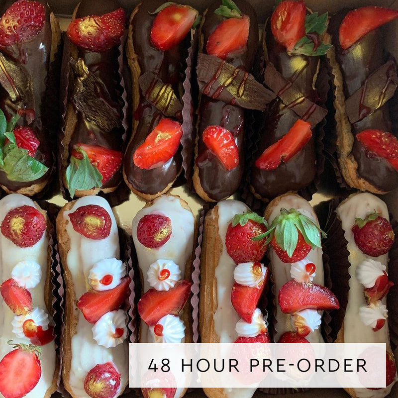 Strawberries and Cream Eclairs - Pack of 6