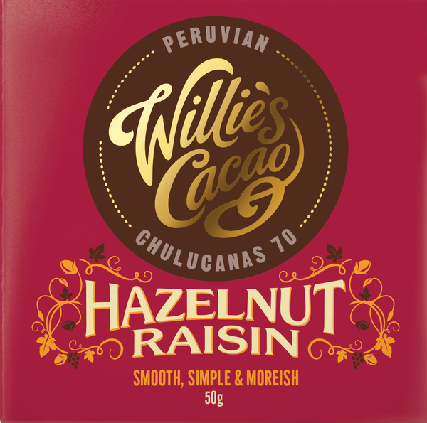 Willie's Cacao HAZELNUT & RAISIN Dark Chocolate