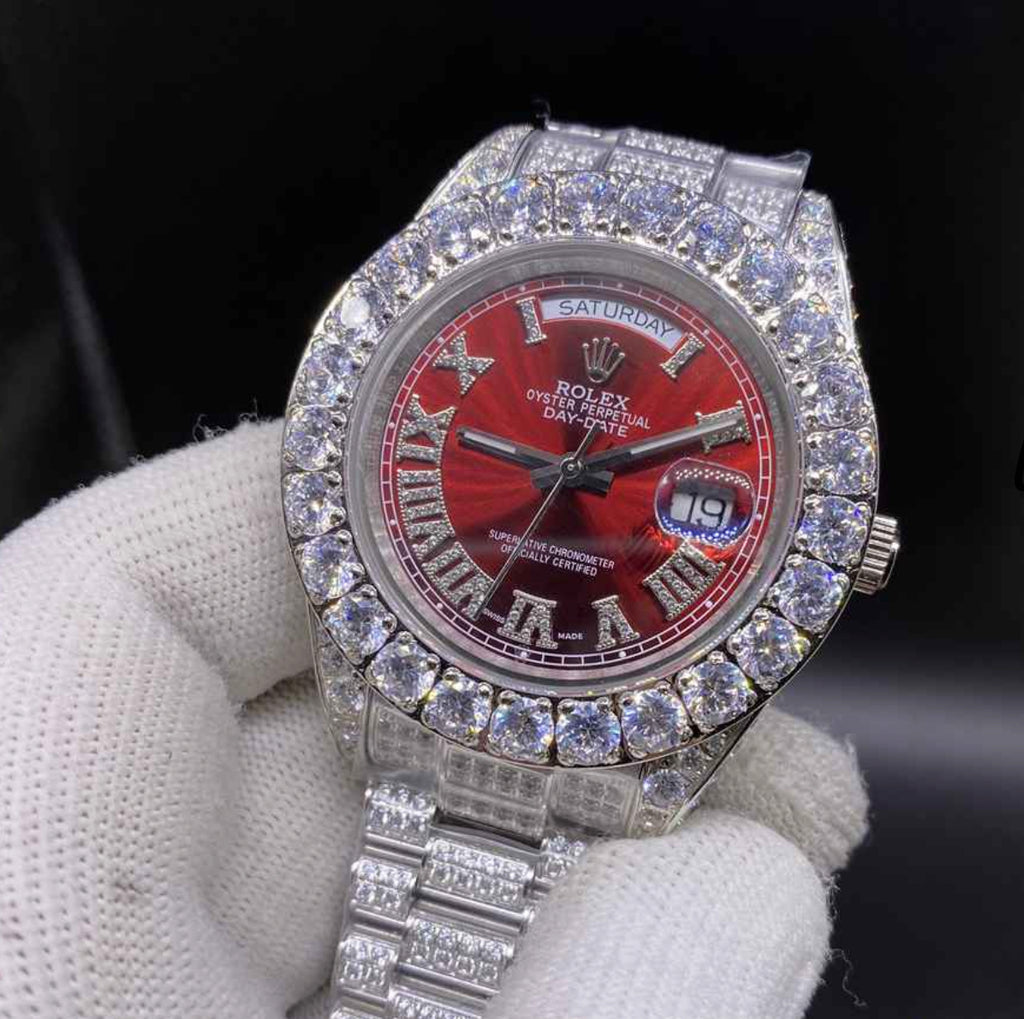 Date Just Red Dial Iced Out