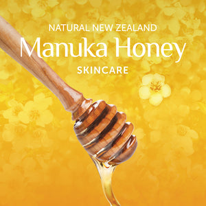 Alpine Silk | Manuka Honey Skincare banner with dripping honey.